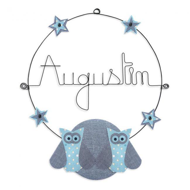 """Prénom en fil de fer """" Augustin """" coloré - Chouette bleue - à punaiser - Bijoux de mur"""