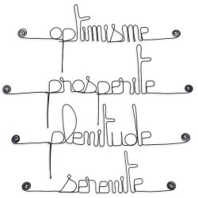 """Lot de petits messages """" POSITIF : Optimisme, Plénitude, Pospérité, Sérénité """" en fil de fer - à punaiser - Bijoux de mur"""