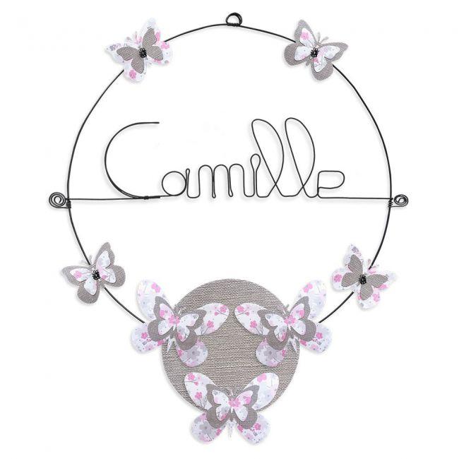 """Prénom en fil de fer """" Camille """" coloré - Papillon rose - à punaiser - Bijoux de mur"""