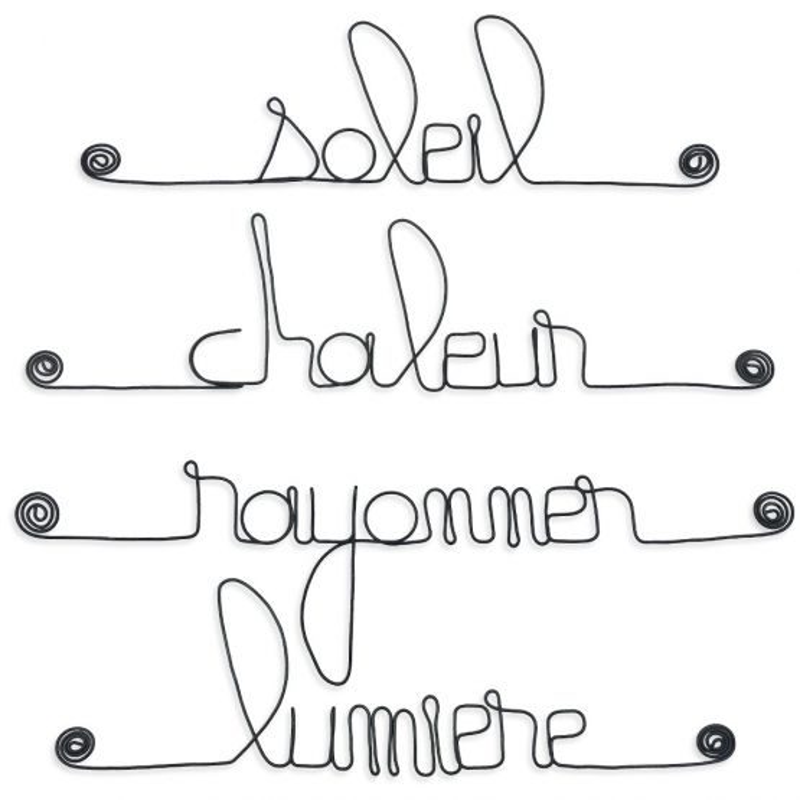 """Lot de petits messages """" SOLEIL : Chaleur, Lumière, Rayonner, Soleil """" en fil de fer - à punaiser - Bijoux de mur"""