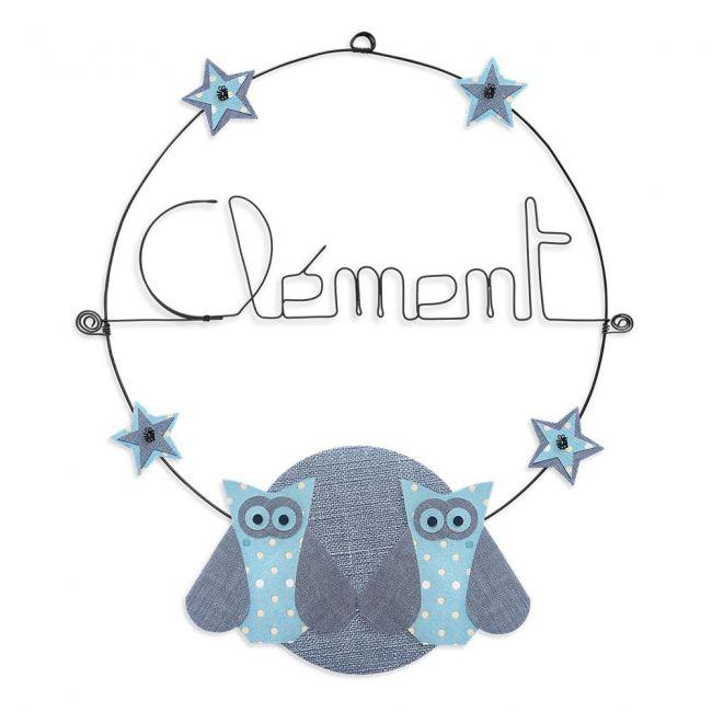 """Prénom en fil de fer """" Clément """" coloré - Chouette bleue - à punaiser - Bijoux de mur"""