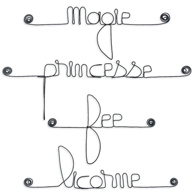 """Lot de petits messages """" FÉÉRIQUE : Fée, Licorne, Magie, Princesse """" en fil de fer - à punaiser - Bijoux de mur"""