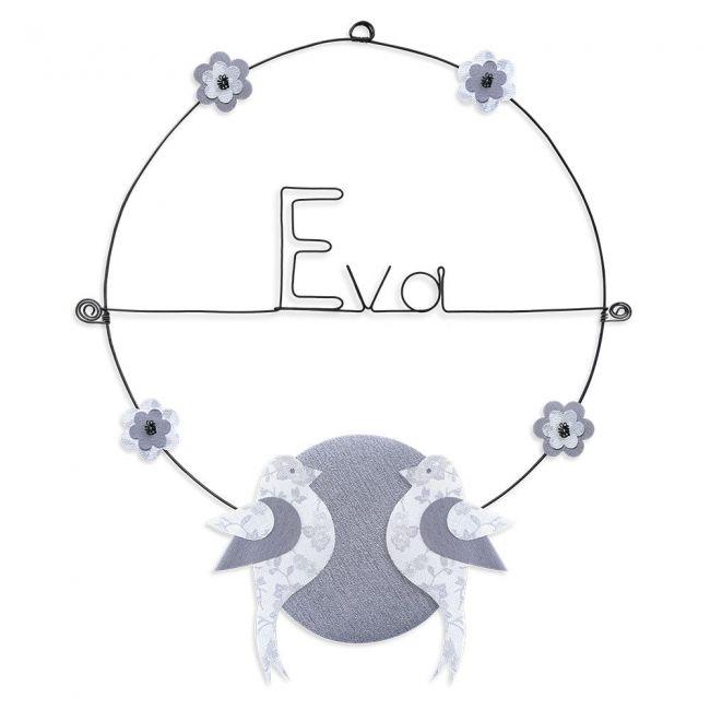 """Prénom en fil de fer """" Eva """" coloré - Oiseau blanc- à punaiser - Bijoux de mur"""