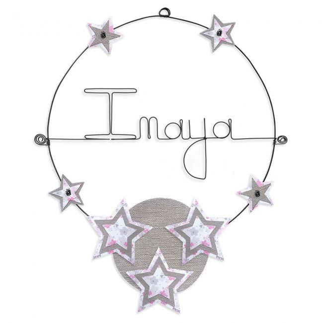"""Prénom en fil de fer """" Inaya """" coloré - Etoile rose - à punaiser - Bijoux de mur"""