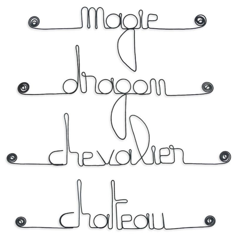 """Lot de petits messages """" GARÇON : Château, Chevalier, Dragon, Magie """" en fil de fer - à punaiser - Bijoux de mur"""