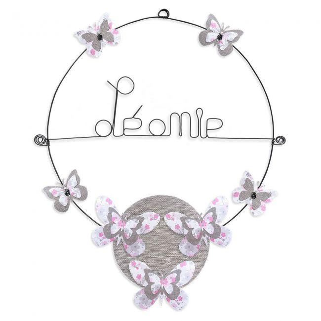 """Prénom en fil de fer """" Léonie """" coloré - Papillon rose - à punaiser - Bijoux de mur"""