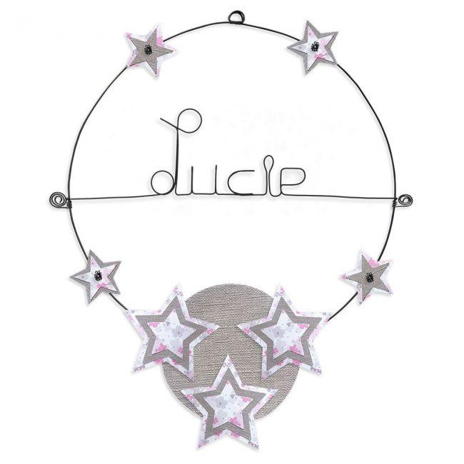 """Prénom en fil de fer """" Lucie """" coloré - Etoile rose - à punaiser - Bijoux de mur"""