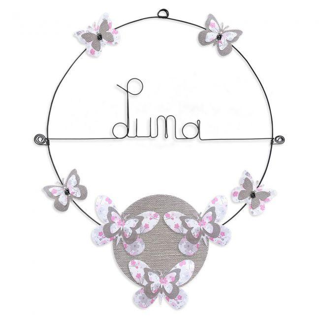 """Prénom en fil de fer """" Luna """" coloré - Papillon rose - à punaiser - Bijoux de mur"""
