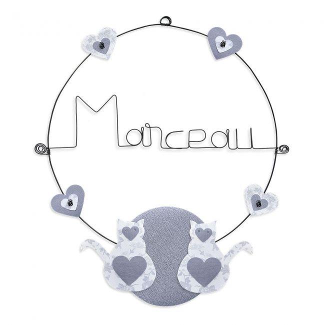 """Prénom en fil de fer """" Marceau """" coloré - Chat blanc - à punaiser - Bijoux de mur"""