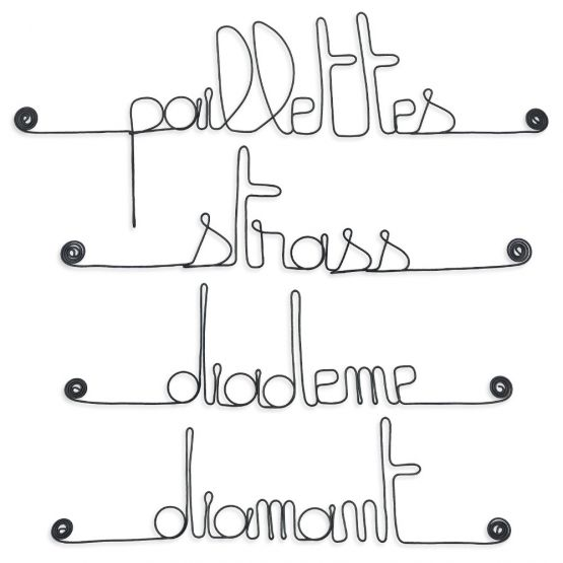 """Lot de petits messages """" FILLE : Diadème, Diamant, Paillettes, Strass """" en fil de fer - à punaiser - Bijoux de mur"""