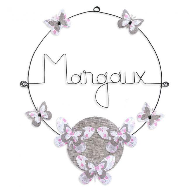 """Prénom en fil de fer """" Margaux """" coloré - Papillon rose - à punaiser - Bijoux de mur"""