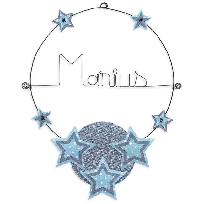 """Prénom en fil de fer """" Marius """" coloré - Etoile bleue - à punaiser - Bijoux de mur"""