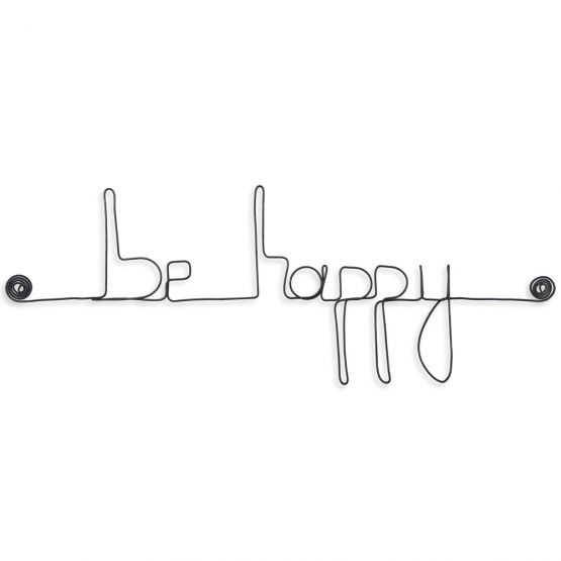 """ Be happy "" - Message mural décoratif en fil de fer - Bijoux de mur"