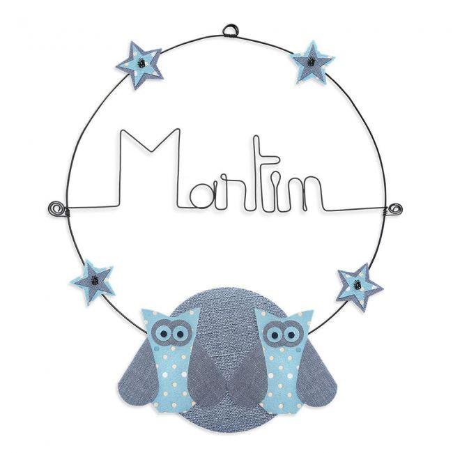 """Prénom en fil de fer """" Martin """" coloré - Chouette bleue - à punaiser - Bijoux de mur"""