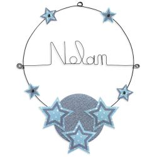 """Prénom en fil de fer """" Nolan """" coloré - Etoile bleue - à punaiser - Bijoux de mur"""