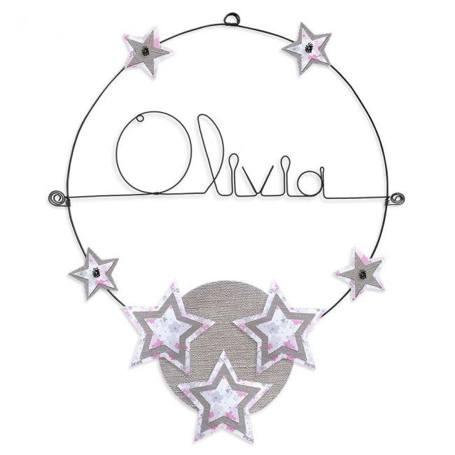 """Prénom en fil de fer """" Olivia """" coloré - Etoile rose - à punaiser - Bijoux de mur"""