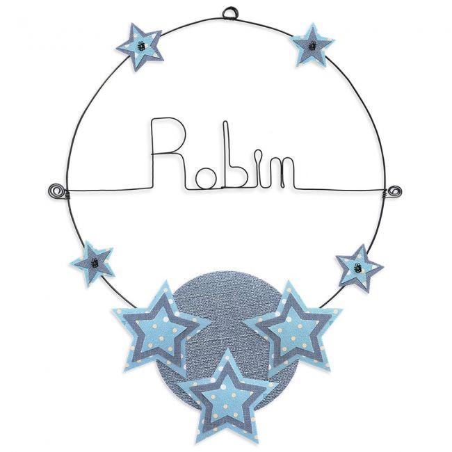 """Prénom en fil de fer """" Robin """" coloré - Etoile bleue - à punaiser - Bijoux de mur"""