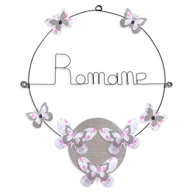 """Prénom en fil de fer """" Romane """" coloré - Papillon rose- à punaiser - Bijoux de mur"""