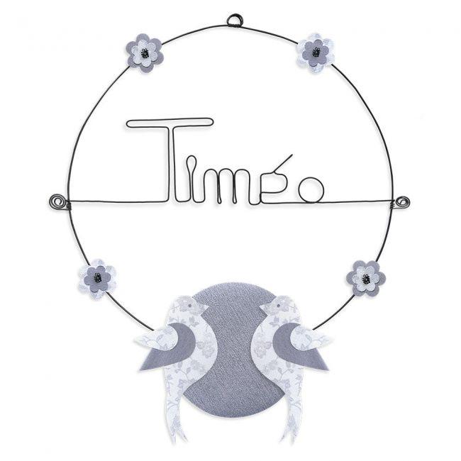 """Prénom en fil de fer """" Timéo """" coloré - Oiseau blanc - à punaiser - Bijoux de mur"""