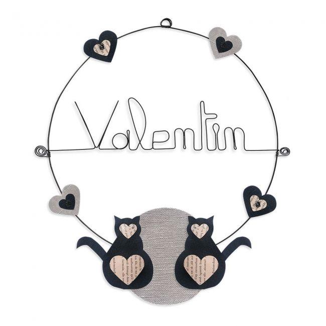 """Prénom en fil de fer """" Valentin """" coloré - Chat noir - à punaiser - Bijoux de mur"""