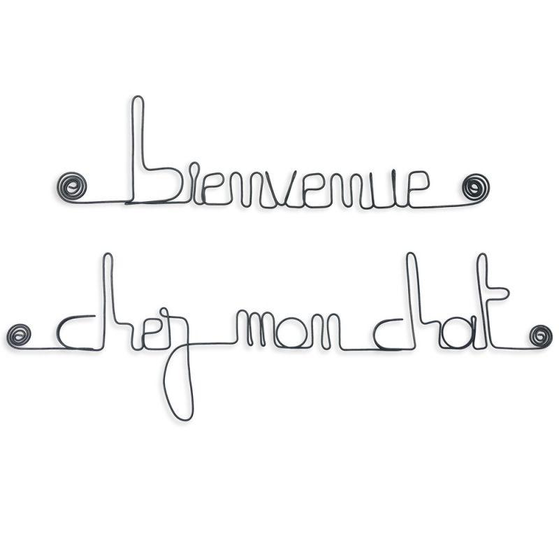 """"""" Bienvenue chez mon chat """" - Message mural décoratif en fil de fer - Bijoux de mur"""