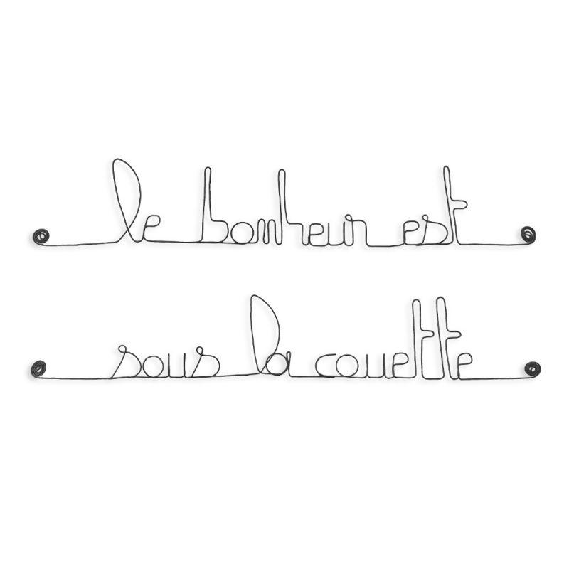 """Citation """" Le bonheur est sous la couette """" en fil de fer - à punaiser - Bijoux de mur"""