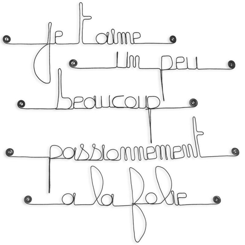"""Citation """" Je t'aime, un peu, beaucoup, passionnément, à la folie """" en fil de fer - à punaiser - Bijoux de mur"""