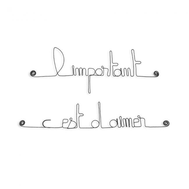 """Citation """" L'important c'est d'aimer """" en fil de fer - à punaiser - Bijoux de mur"""