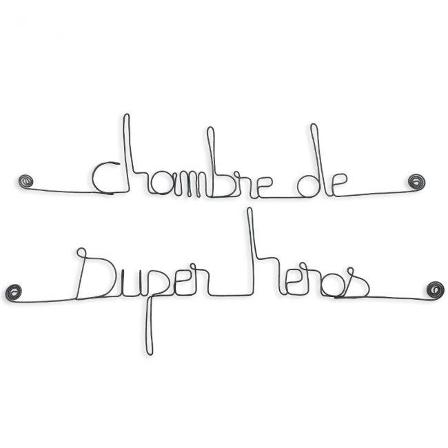 """"""" Chambre de super héros """" - Message mural décoratif en fil de fer - Bijoux de mur"""