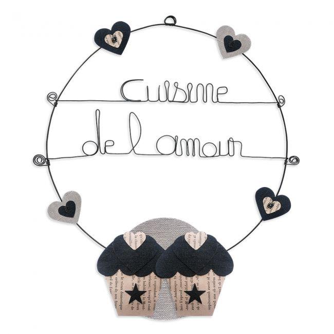"""Message coloré """" Cupcake - Noir : Cuisine de l'amour """" en fil de fer - Grand - à punaiser - environ 37 x 44 cm - Bijoux de mur"""