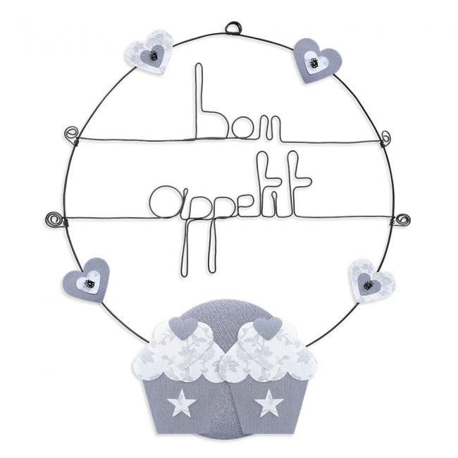 """Message coloré """" Cupcake - Blanc : Bon appétit """" en fil de fer - Grand - à punaiser - environ 37 x 44 cm - Bijoux de mur"""