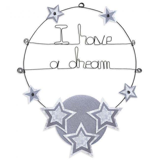 """Message coloré """" Étoile - Blanc : I have a dream """" en fil de fer - Grand - à punaiser - environ 37 x 47 cm - Bijoux de mur"""
