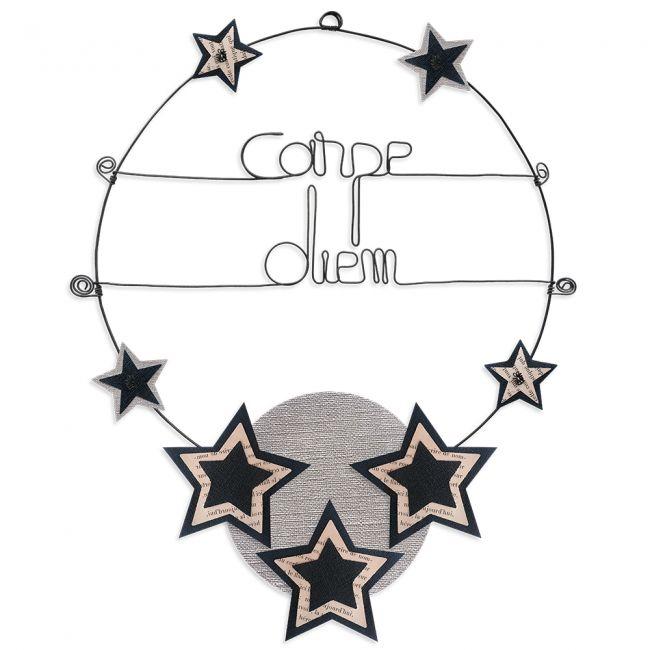 """Message coloré """" Étoile - Noir : Carpe diem """" en fil de fer - Grand - à punaiser - environ 37 x 47 cm - Bijoux de mur"""