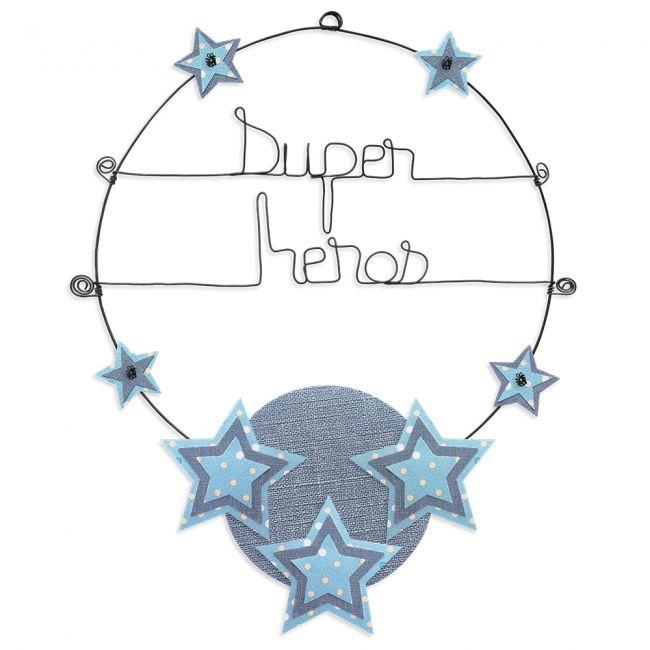 """Message coloré """" Étoile - Bleu : Super héros """" en fil de fer - Grand - à punaiser - environ 37 x 47 cm - Bijoux de mur"""