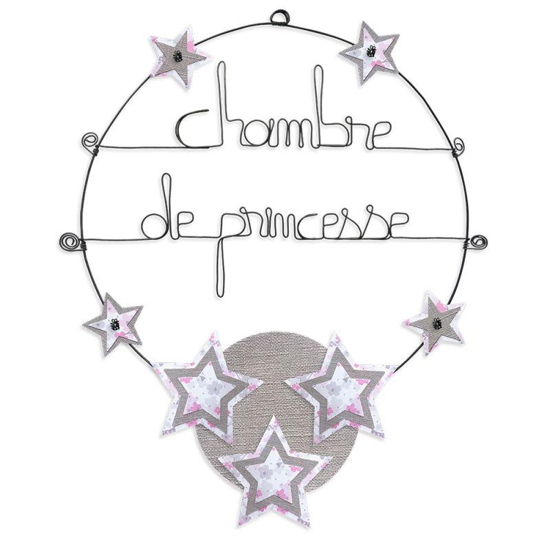 """Message coloré """" Étoile - Rose : Chambre de princesse """" en fil de fer - Grand - à punaiser - environ 37 x 47 cm - Bijoux de mur"""