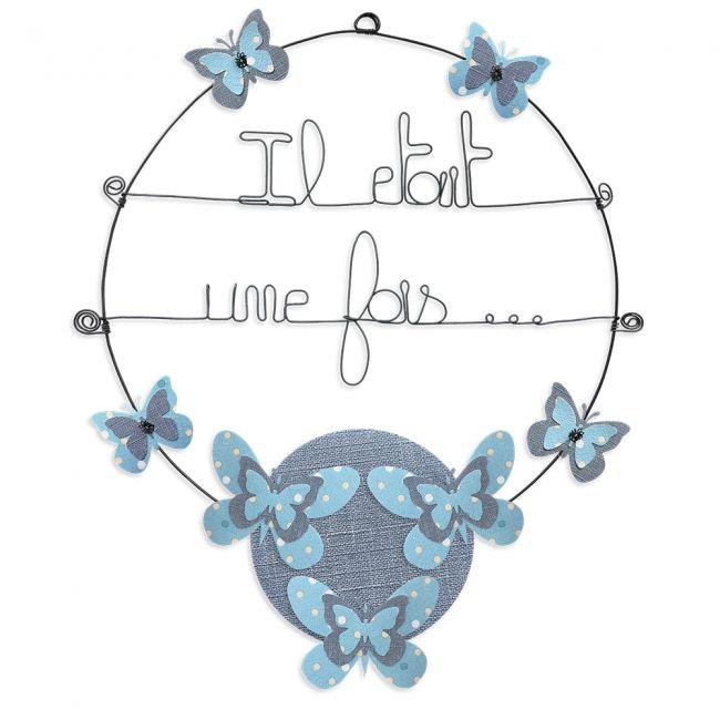 """Message coloré """" Papillon - Bleu : Il était une fois """" en fil de fer - Grand - à punaiser - environ 37 x 46 cm - Bijoux de mur"""