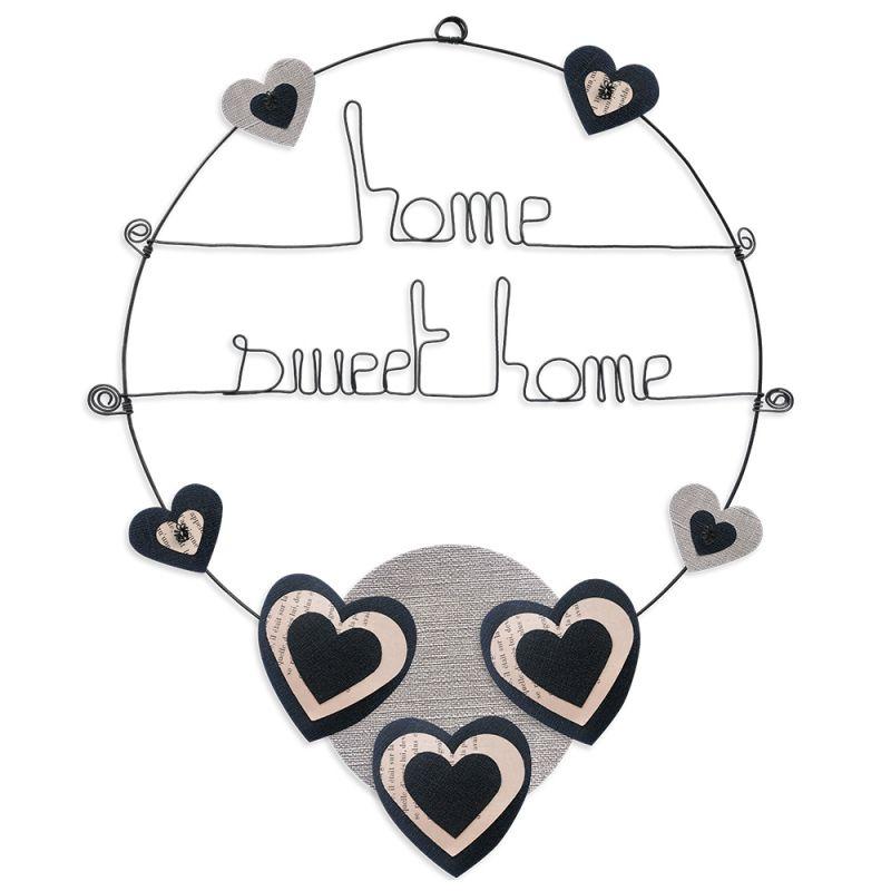 """Message coloré """" Coeur - Noir : Home sweet home """" en fil de fer - Grand - à punaiser - environ 37 x 47 cm - Bijoux de mur"""