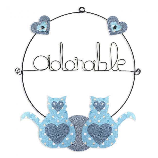 """Message coloré """" Chat - Bleu : Adorable """" en fil de fer - Petit - à punaiser - environ 29 x 33 cm - Bijoux de mur"""