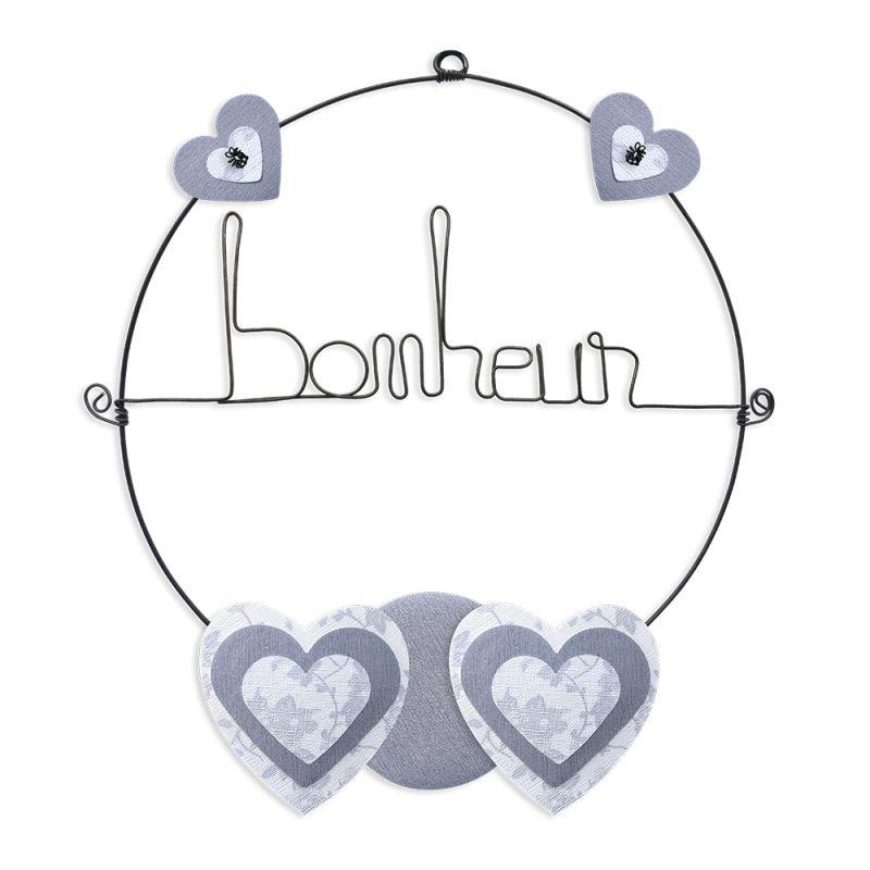 """Message coloré """" Coeur - Blanc : Bonheur """" en fil de fer - Petit - à punaiser - environ 29 x 33 cm - Bijoux de mur"""