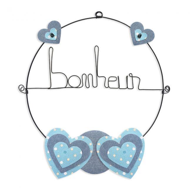 """Message coloré """" Coeur - Bleu : Bonheur """" en fil de fer - Petit - à punaiser - environ 29 x 33 cm - Bijoux de mur"""