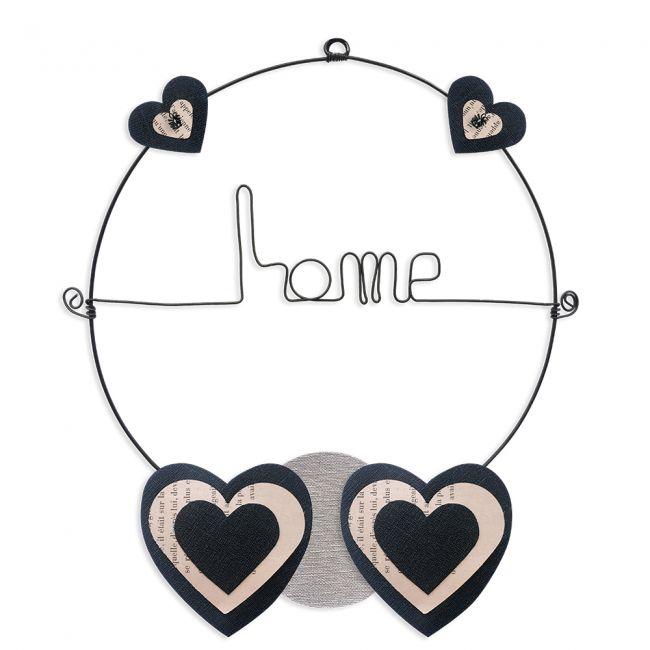 """Message coloré """" Coeur - Noir : Home """" en fil de fer - Petit - à punaiser - environ 29 x 33 cm - Bijoux de mur"""