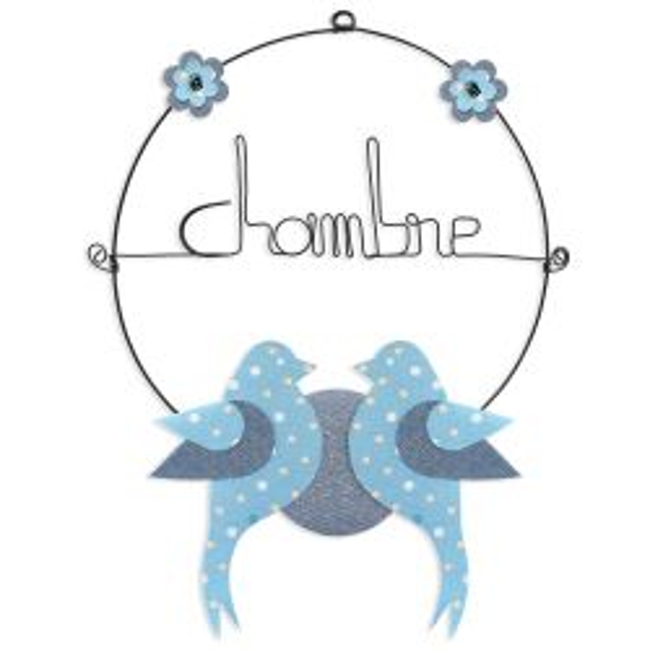 """Message coloré """" Oiseau - Bleu : Chambre """" en fil de fer - Petit - à punaiser - environ 29 x 38 cm - Bijoux de mur"""