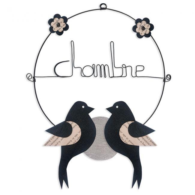"""Message coloré """" Oiseau - Noir : Chambre """" en fil de fer - Petit - à punaiser - environ 29 x 38 cm - Bijoux de mur"""