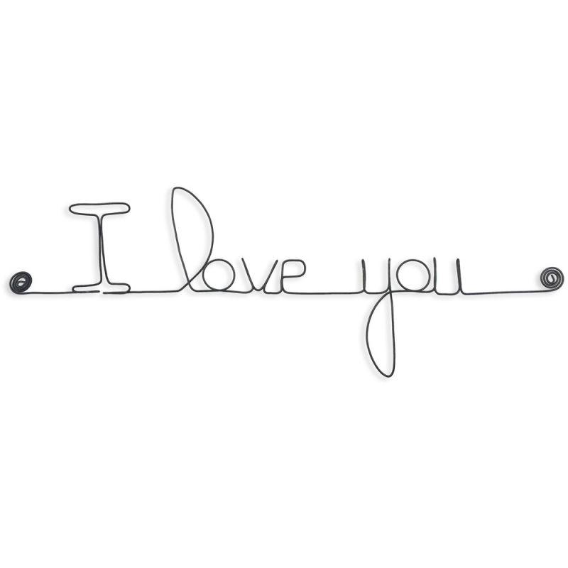 """"""" I love you """" - Message mural décoratif en fil de fer - Bijoux de mur"""