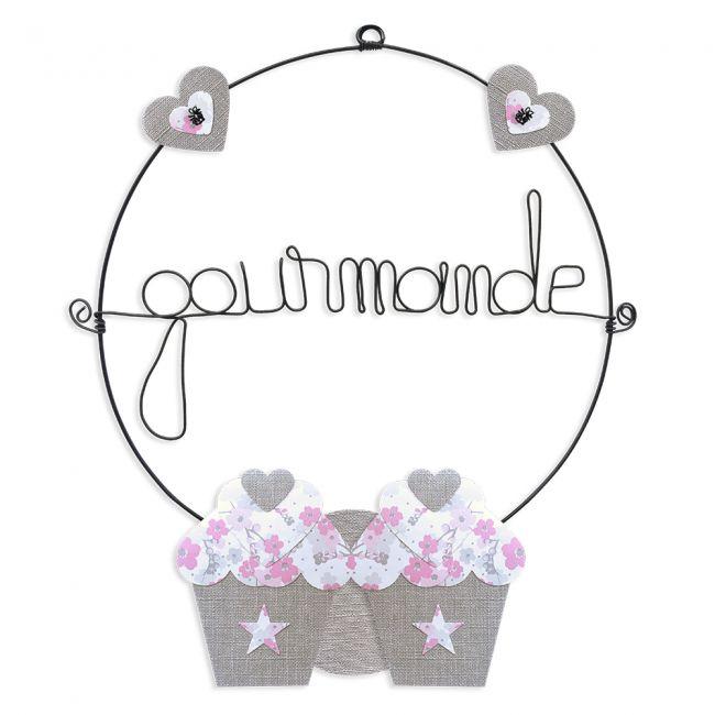 """Message coloré """" Cupcake - Rose : Gourmande """" en fil de fer - Petit - à punaiser - environ 29 x 35 cm - Bijoux de mur"""