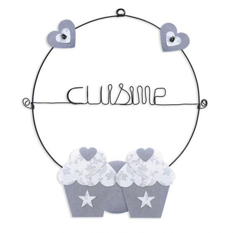 """Message coloré """" Cupcake - Blanc : Cuisine """" en fil de fer - Petit - à punaiser - environ 29 x 35 cm - Bijoux de mur"""