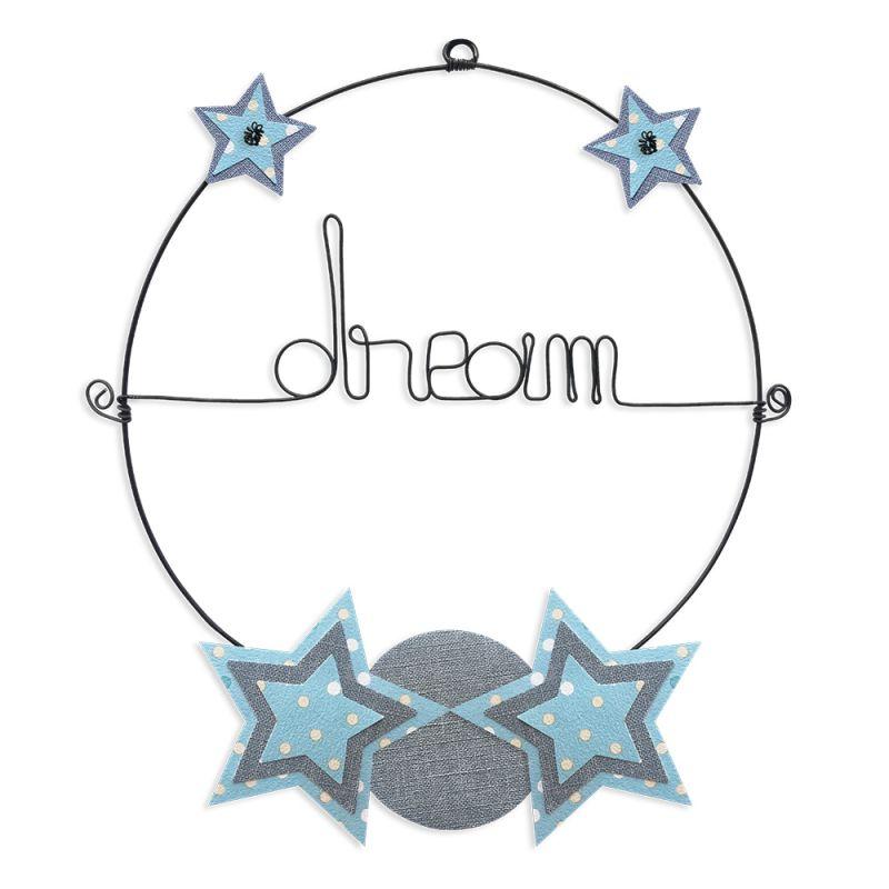 """Message coloré """" Étoile - Bleu : Dream """" en fil de fer - Petit - à punaiser - environ 29 x 34 cm - Bijoux de mur"""
