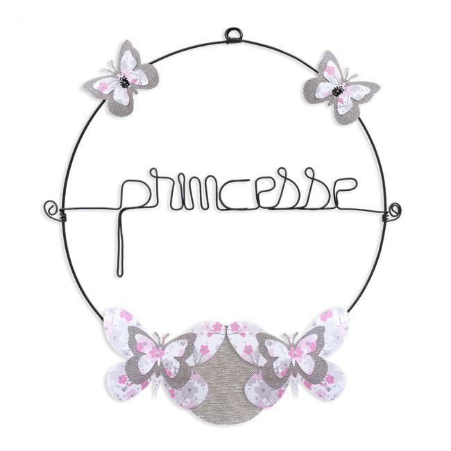 """Message coloré """" Papillon - Rose : Princesse """" en fil de fer - Petit - à punaiser - environ 29 x 32 cm - Bijoux de mur"""
