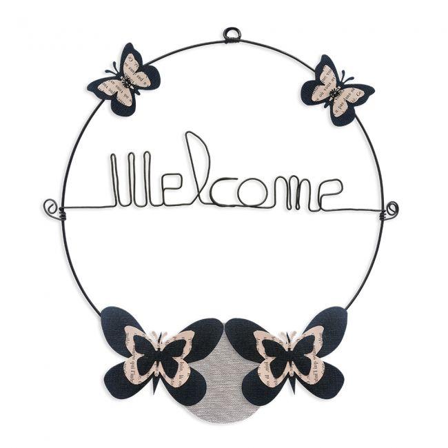 """Message coloré """" Papillon - Noir : Welcome """" en fil de fer - Petit - à punaiser - environ 29 x 32 cm - Bijoux de mur"""
