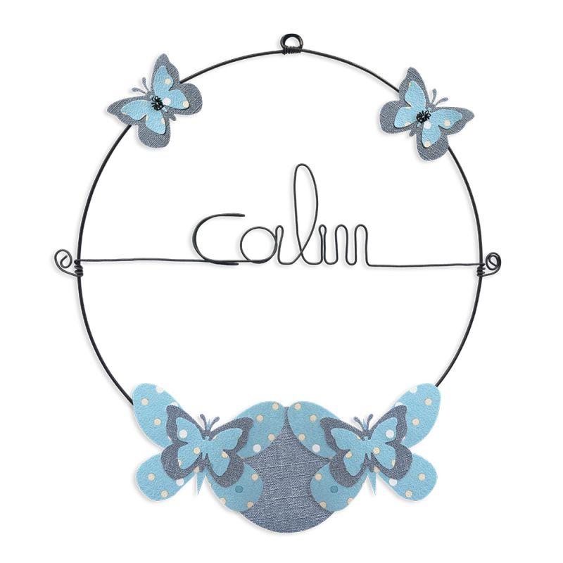 """Message coloré """" Papillon - Bleu : Calin """" en fil de fer - Petit - à punaiser - environ 29 x 32 cm - Bijoux de mur"""